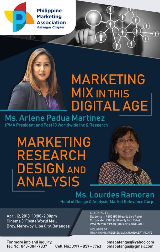 Philippine Marketing Association Batangas Chapter | Marketing in this Digital Age | Marketing Research Design and Analysis