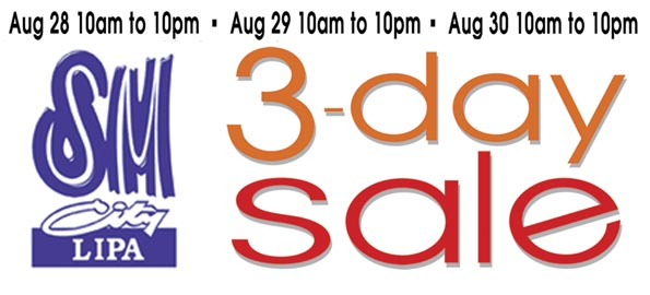 SM City Lipa 3 Day Sale on Aug 28-30, 2009!