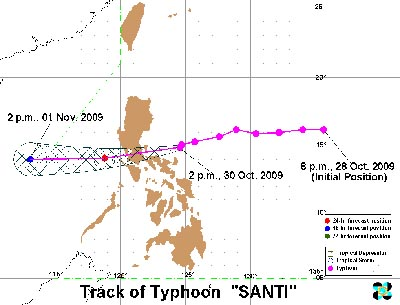 Predicted Track of Typhoon Santi - Batangas Signal No. 3