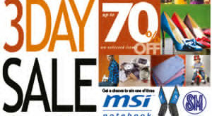 It's 3 Day Sale at SM City Lipa! (March 4-6, 2011)