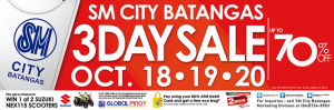 Shop 'Til You Drop at SM City Batangas 3-Day Sale, October 18-20