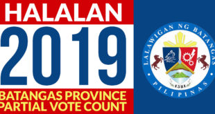 Halalan 2019 – Batangas Partial Vote Count – Tuy, Batangas