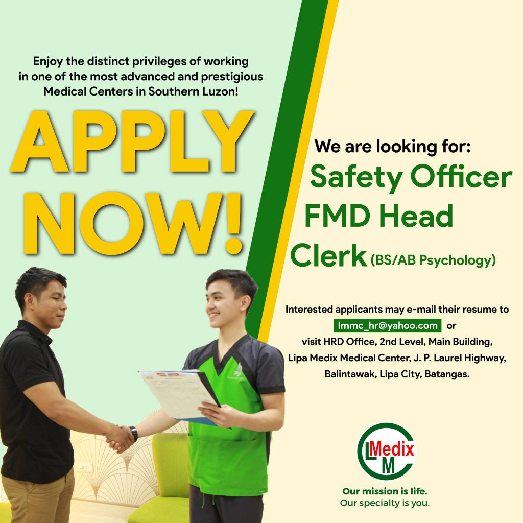 Looking for Safety officer FMD Clerk Head
