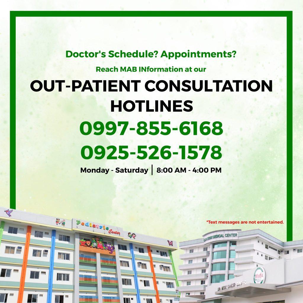 Out Patient Consultation Hotlines - Lipa Medix Medical Center